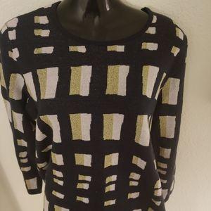 Ann Taylor Navy Geometric Sweater